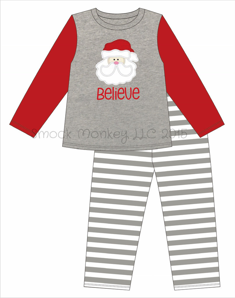 "Adult appliqué ""SANTA BELIEVE"" gray shirt with striped pajama bottoms set (SM,MED,LG)"