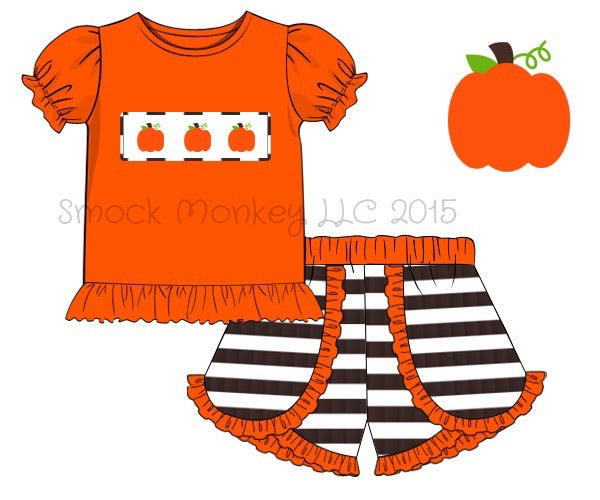 "Girl's smocked ""PUMPKINS"" orange knit ruffle shirt and brown striped knit shorts (6m,24m,3t,4t,5t,6t,10t)"