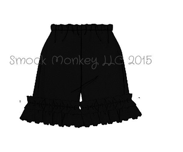 Girl's BLACK knit ruffle shorts (3m,9m)