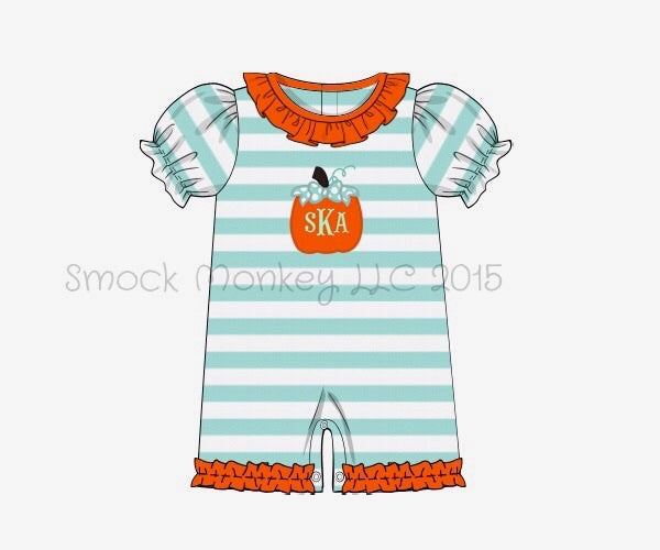 "Girl's applique ""PUMPKIN"" mint striped ruffle neck short romper (NO MONOGRAM) (2t,3t,5t)"