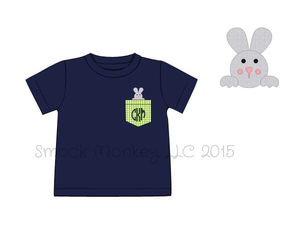 "Boy's applique ""BUNNY IN AN EGG"" navy short sleeve shirt (NO MONOGRAM) (3m)"