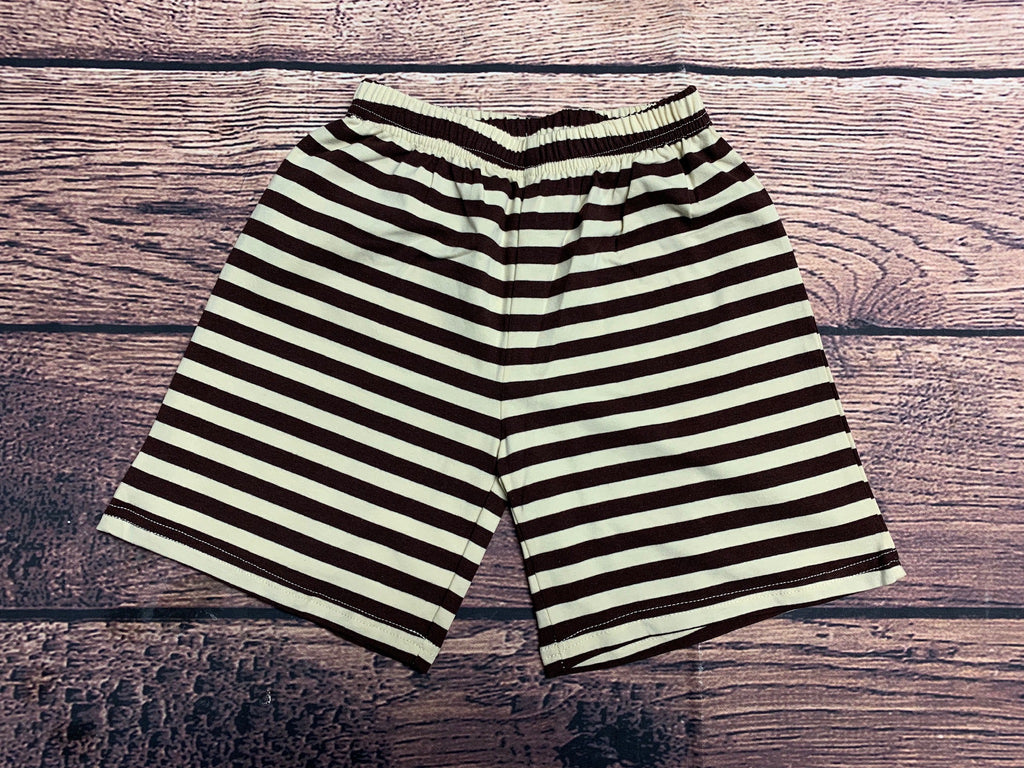Boy's brown and cream striped knit board shorts (longer length) (18m,24m,2t,3t,4t,6t)