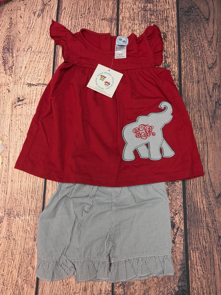"Girl's applique ""ELEPHANT"" garnet angel wing swing top and gray microgingham ruffle short set ""GTR"" (2t)"