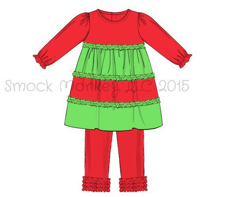 Girl's ruffle red and lime green layered top and red leggings set (9m)
