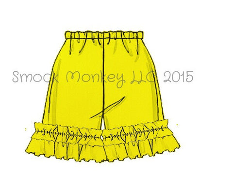 Girl's YELLOW knit ruffle shorts (3m,6m,12m,18m)