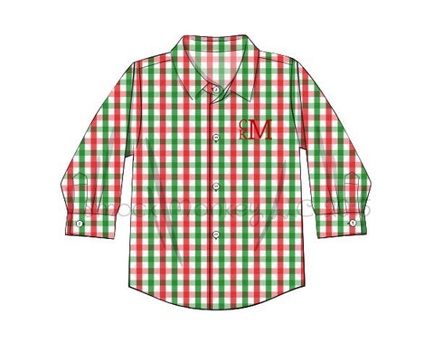 Boy's red/green gingham long sleeve button down shirt (NO MONOGRAM) (NB,3m,18m,24m,3t,4t,6t,7t,8t)