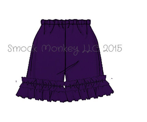 Girl's PURPLE knit ruffle shorts (3m,6m,9m)