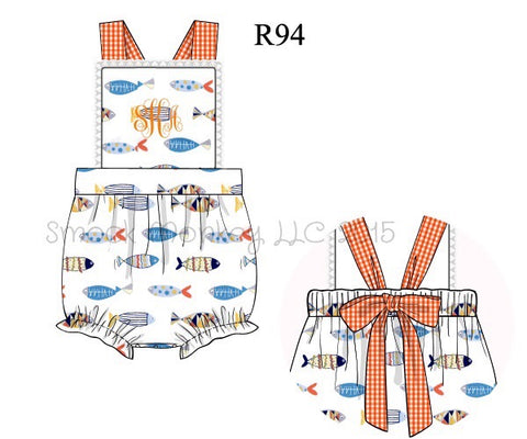 "Boy's ""BUNNY TAIL"" blue and white striped romper (NO MONOGRAM) (3m,6m,3t)"