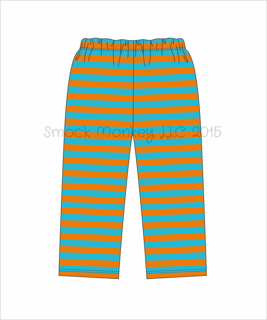 Boy's orange and aqua knit striped pants (9m,12m,18m,24m,2t,3t,4t,5t,6t)