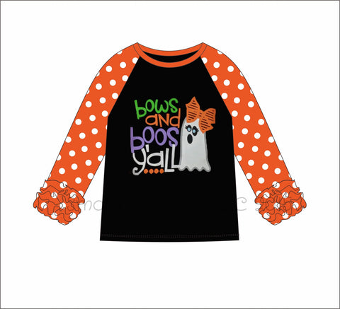"Girl's applique ""BOWS and BOO's"" black knit with orange polka dot ruffle sleeve baseball shirt (3m,6m,12m,18m,24m,3t,4t,5t,6t,7t,8t,10t)"