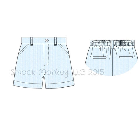 Boy's blue linen style cotton patterned chino style shorts.(8t)