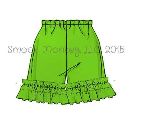Girl's LIME GREEN knit ruffle shorts (3m,6m,9m)