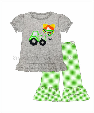 "Girl's applique ""CANDY CORN TRACTOR"" gray knit swing top and lime gingham knit CAPRI pants (3m,9m,18m,24m,2t,3t,4t,5t,6t"
