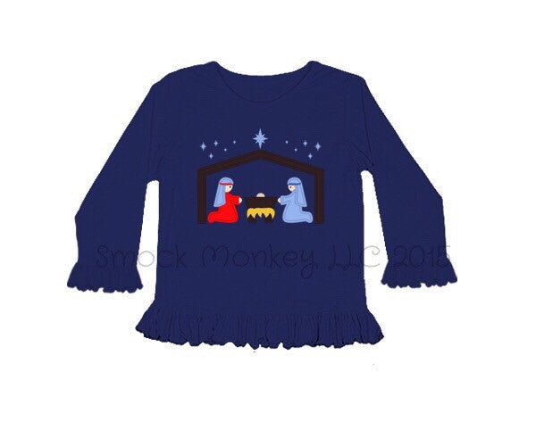 "Girl's applique ""NATIVITY"" navy/royal long sleeve ruffle shirt"