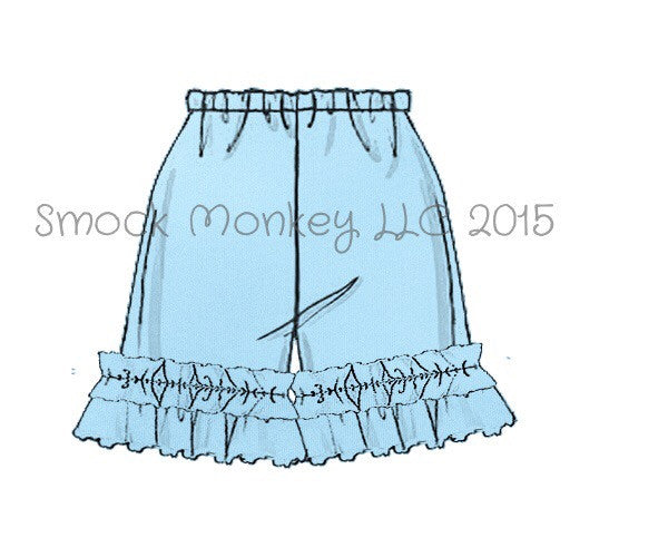 Girl's LIGHT BLUE knit ruffle shorts