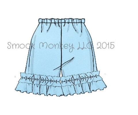 Girl's LIGHT BLUE knit ruffle shorts (3m,6m)