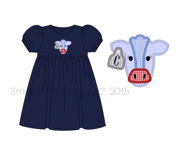 "Girl's applique ""COW"" navy knit short sleeve swing dress (NO MONOGRAM) (12m,18m,24m,3t,4t,5t,6t,8t)"