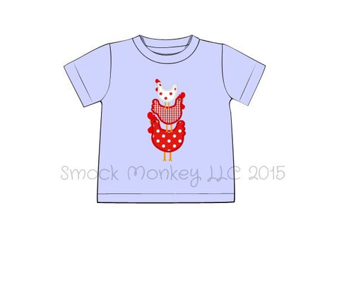 "Boy's applique ""STACKED CHICKENS"" light blue knit short sleeve shirt (18m,3t,4t,5t,6t,7t)"