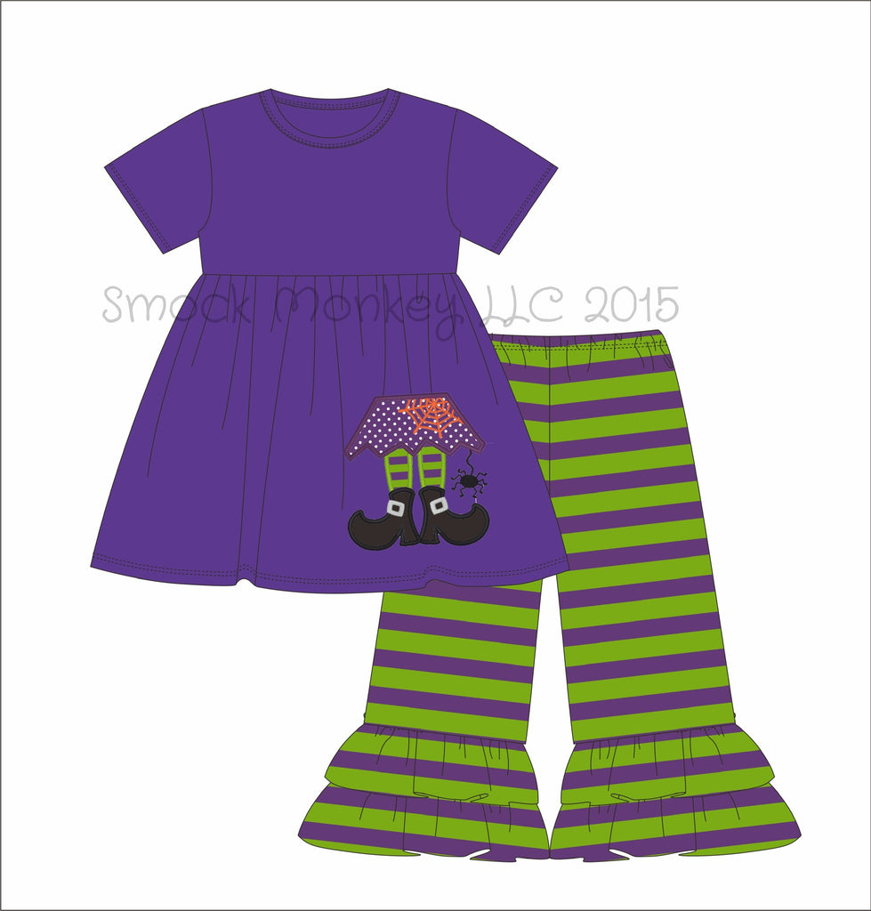 "Girl's applique ""SMELL MY FEET"" purple knit swing top and purple and lime striped Capri pants (12m,18m,24m,2t,3t,4t,5t,6t,7t)"