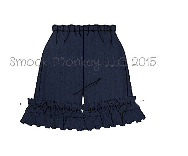 Girl's NAVY knit ruffle shorts