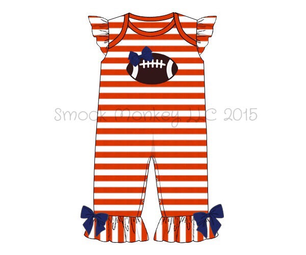 "Girl's applique ""FOOTBALL"" orange striped knit ruffle romper with ROYAL BLUE bows (SEE DESCRIPTION) (6m,9m,12m,18m,2t,3t,4t)"