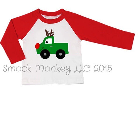 "Boy's applique ""MR. REINDEER TRUCK"" baseball tee with red sleeves (12m,18m,2t,4t,8t,10t)"