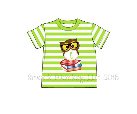 "Boy's applique ""SMARTY OWL"" lime green striped knit short sleeve shirt (NO MONOGRAM) (18m,24m,2t,5t,7t)"