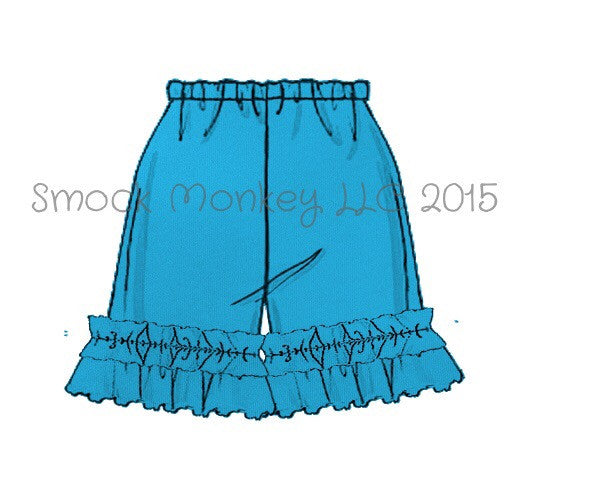 Girl's AQUA BLUE knit ruffle shorts