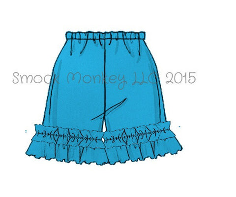 Girl's AQUA BLUE knit ruffle shorts (3m,6m,9m)