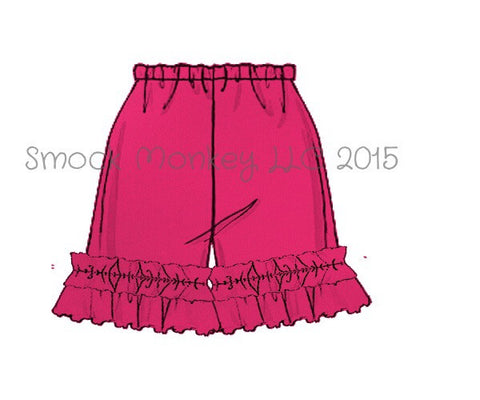 Girl's HOT PINK knit ruffle shorts (3m)