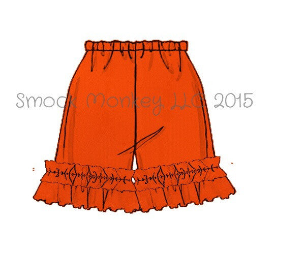 Girl's ORANGE knit ruffle shorts (3m,6m,9m)