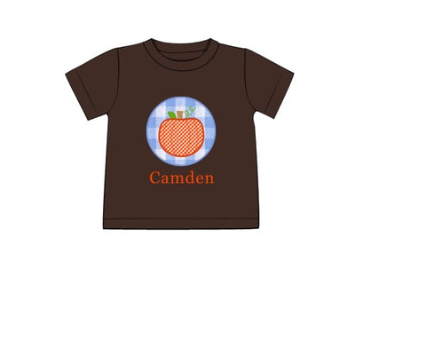 "Boy's applique ""BLUE GINGHAM PUMPKIN"" brown knit short sleeve shirt (NO MONOGRAM) (6m,12m,18m,7t)"