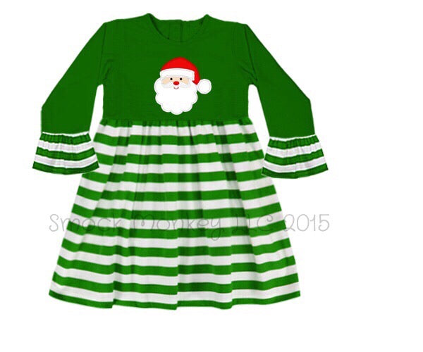 "Girl's applique ""SANTA"" green with green stripes 3/4 length bell sleeve swing dress (6m,12m,18m,24m,2t)"