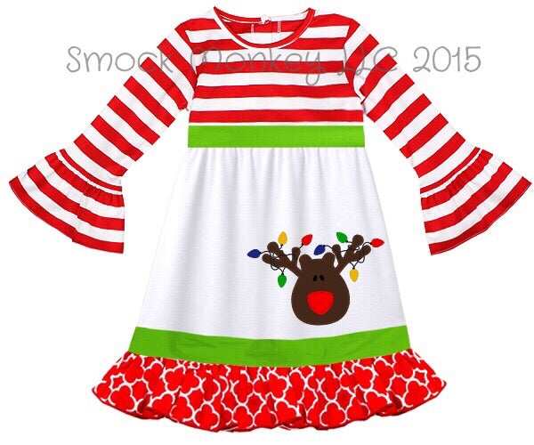 "Girl's applique ""REINDEER"" red striped long bell sleeve knit with quatrefoil cotton trim swing dress (24m,2t,6t)"