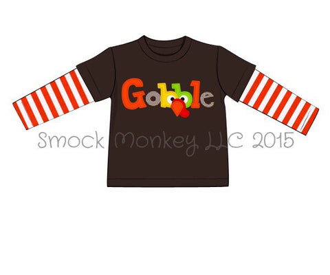 Boy's applique GOBBLE brown with orange stripes long sleeve shirt (3m,6m,9m,8t)