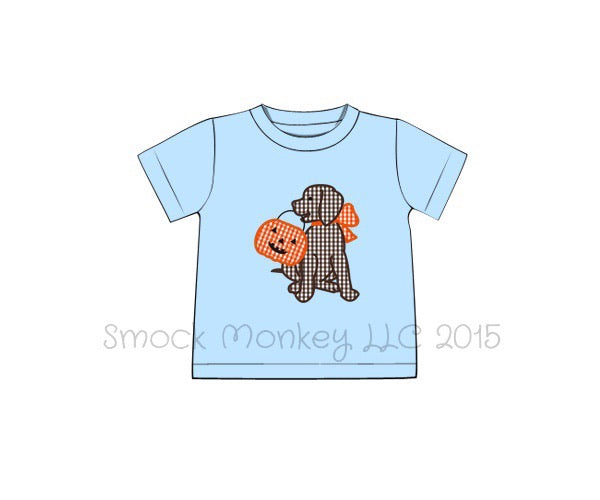 "Boy's applique ""PUPPY DOG TRICK or TREAT"" light blue knit short sleeve shirt (NB,3m,6m,9m,12m,24m,4t)"
