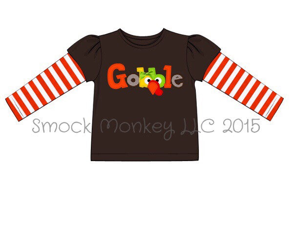 Girl's applique GOBBLE brown with orange stripes long sleeve shirt (3m,6m,12m,18m,24m,2t)