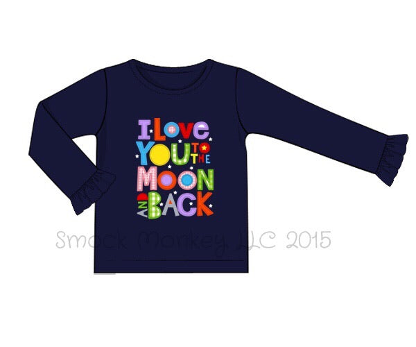 "Girl's applique ""I LOVE YOU TO THE MOON"" navy knit long sleeve ruffle shirt (12m,18m,2t)"