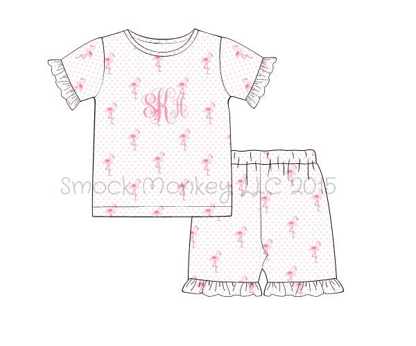 "Girl's ""FLAMINGOS"" print short sleeve knit pajama top and flamingo print ruffle short set (9m,18m,3t,5t,7t,8t)"