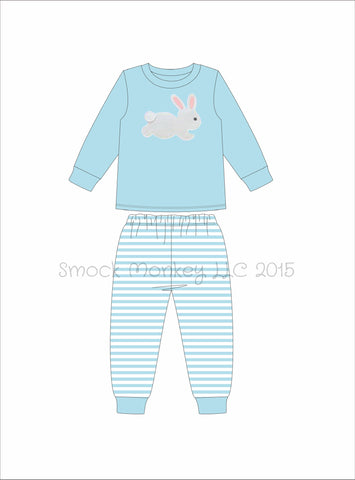 "Boy's applique ""BUNNY"" light blue knit long sleeve with striped dot pajama set (3m,6m,9m,12t)"