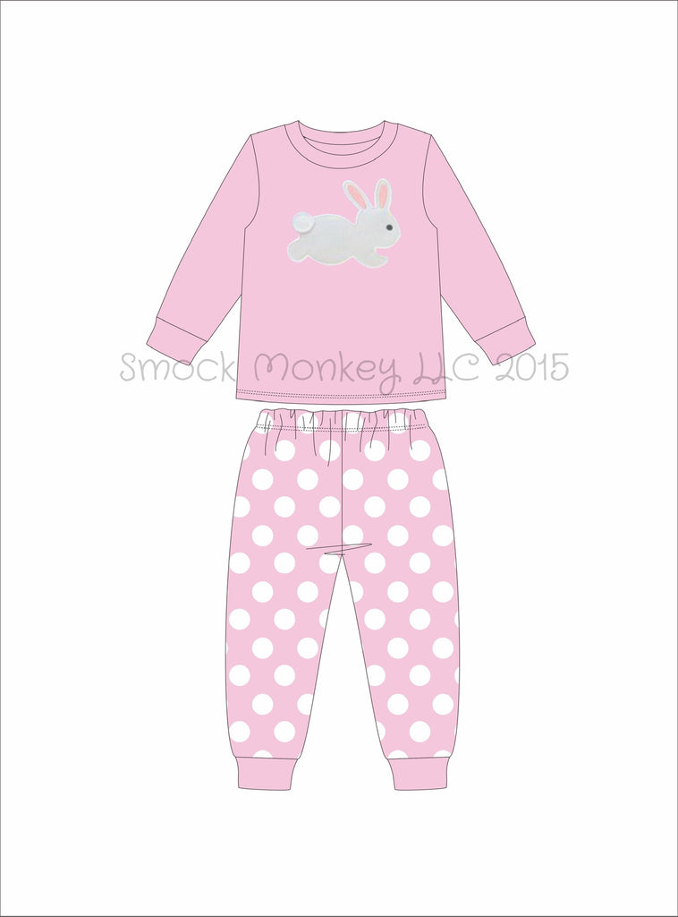 "Girl's applique ""BUNNY"" pink knit long sleeve with polka dot pajama set (6m,9m,12m,8t)"