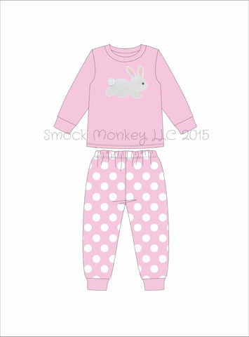 "Girl's applique ""BUNNY"" pink knit long sleeve with polka dot pajama set (3m-8t)"