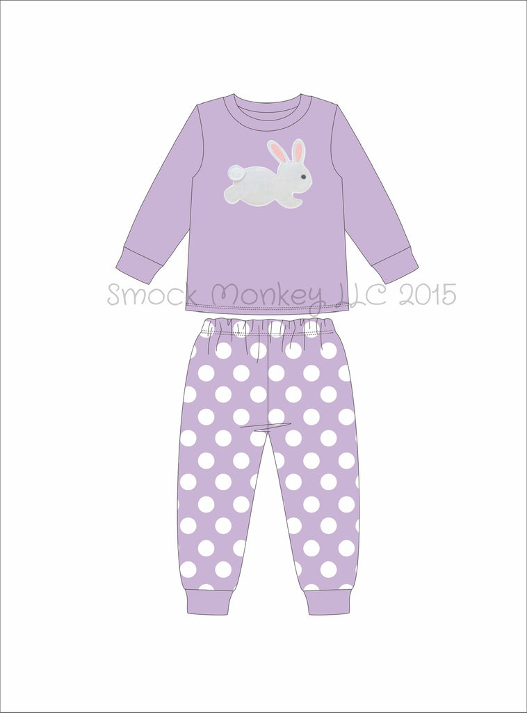 "Girl's applique ""BUNNY"" lavender knit long sleeve with polka dot pajama set (6m,9m,18m,24m,2t,6t,7t,8t,10t)"