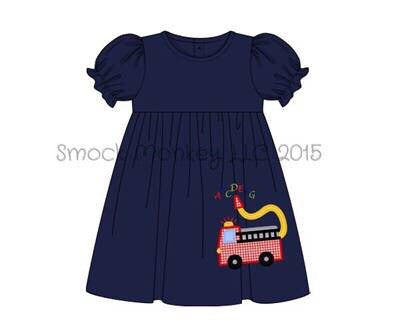 "Girl's applique ""ABC FIRE TRUCK"" navy short sleeve knit swing dress (12m,24m,2t,7t)"