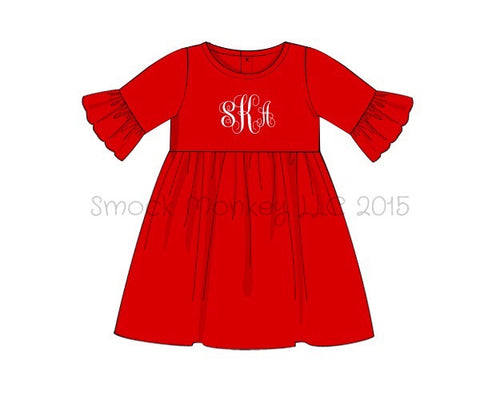 Girl's bell sleeve swing red knit dress (NO MONOGRAM) (3m,9m)