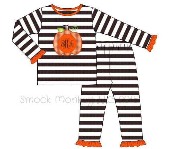 "Girl's applique ""PUMPKIN"" brown striped knit ruffle two piece pajama set (NO MONOGRAM) (3m,6m,9m,24m,5t,7t,8t)"