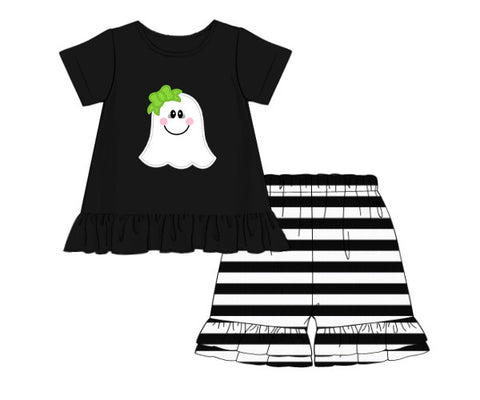 "Girl's applique ""GHOST"" black knit short sleeve ruffle shirt and black striped short set (12m,24m,4t,6t)"
