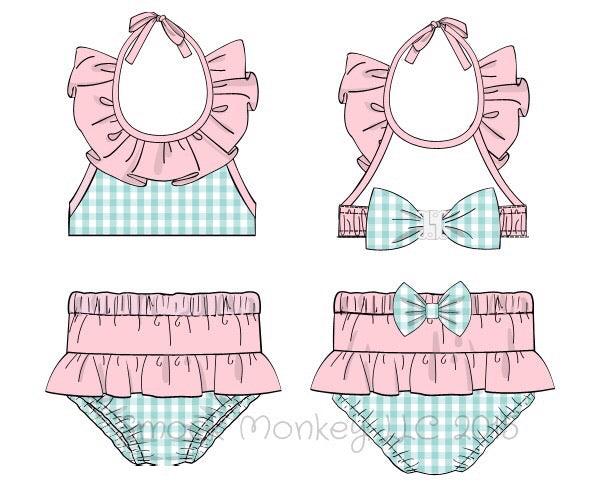 Girl's mint gingham two piece ruffle and bows swim suit (6m,12m)