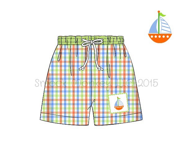 "Boy's smocked ""SAILBOAT"" orange/aqua/lime plaid with lime microgingham waistband swim trunks (3m,6m,7t,8t)"