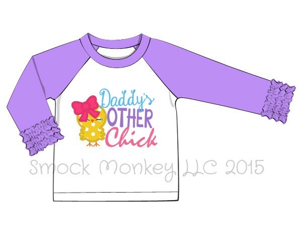 "Girl's applique ""DADDY'S OTHER CHICK"" white baseball tee with lavender ruffle sleeves (3m,6m,9m,18m,6t,7t)"